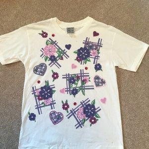 Girls Flower Top Sparkly Purple, Pink and White